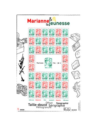 """N° 4774B - Feuille multi-techniques """"Marianne 1944-2014"""" surchargée en typo"""