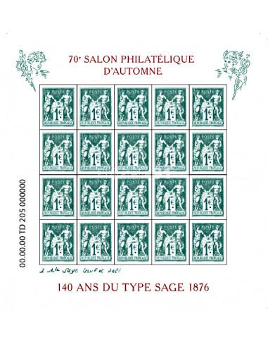 n° 5094 à 5095 - Feuille 140 ans du type Sage 1876, 70e Salon Philatélique d'Automne