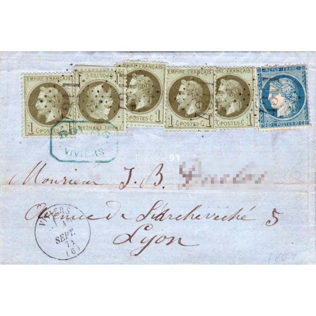 n°   25 et n° 37 sur Lettre de septembre 1871, Affranchissement mixte