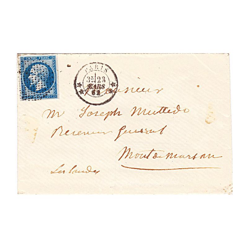 n°   14A sur lettre, oblitération ronde de Paris