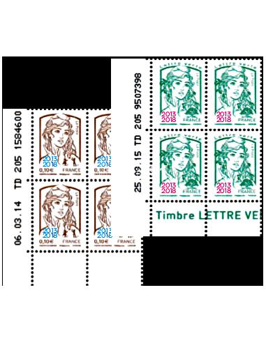 n° 5234 et 5235 -Les 2 COINS DATÉS issus des Feuilles Marianne surchargée 2013-2018