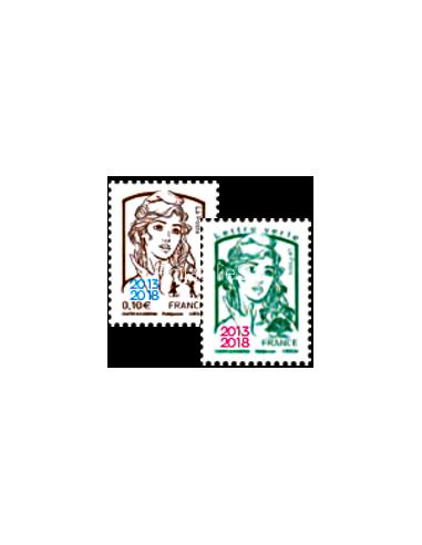 n° 5234 et 5235 ** - Les 2 timbres issus des 2 Feuilles Marianne surchargée 2013-2018