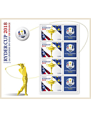 BF 142 - Mini feuille Ryder Cup 2018 – La légende du golf en France (valeur faciale des TP : 1,30 €)