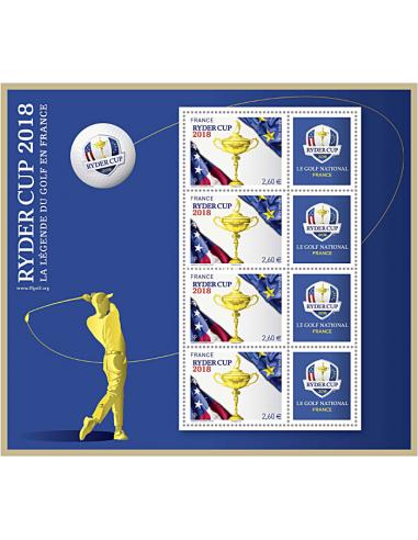 2018-09-15 - Mini feuille Ryder Cup 2018 bleue – La légende du golf en France (valeur faciale des TP : 2,60 €)