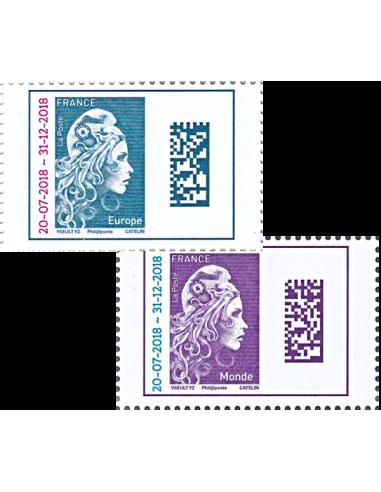 2018-10-15 - Les 2 timbres gommés Marianne l'Engagée surchargés - Europe et Monde