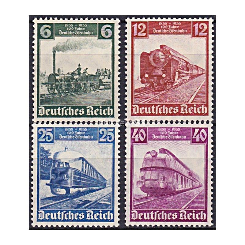 ALLEMAGNE - Reich - n°  539 à 542 ** - 100ans des chemins de fer allemands (181102-5)