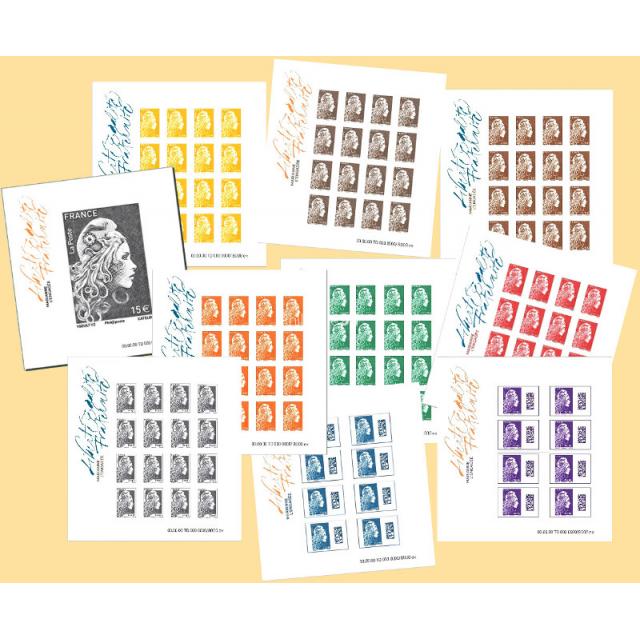2018-11-09 - Les 10 feuillets Marianne l'Engagée, non dentelés, présentés dans 1 pochette cartonnée noire luxe