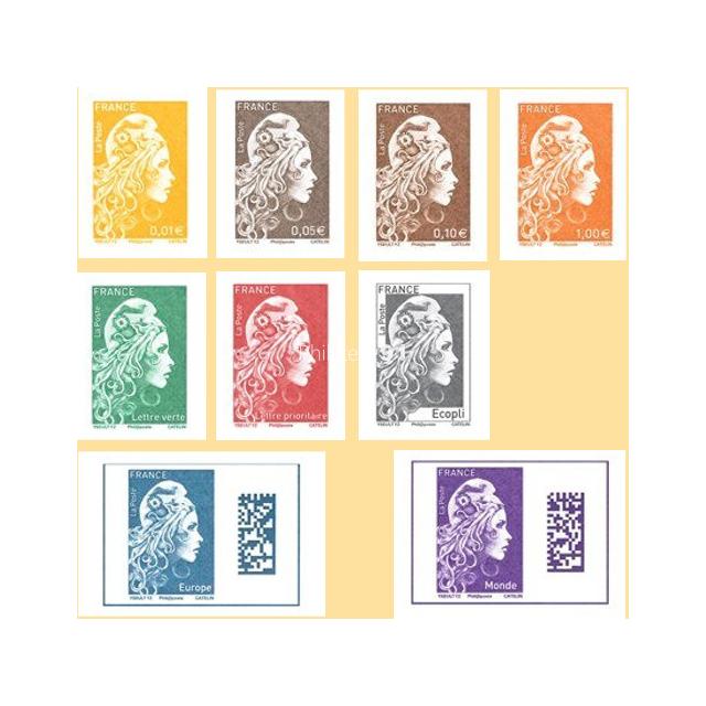2018-11-09 - Série des 9 valeurs Marianne l'Engagée issues des feuillets non dentelés