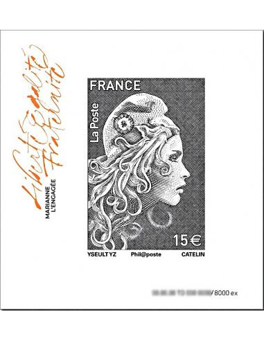 2018-11-09 - Bloc Marianne l'Engagée 15€, effet pailleté noir, non dentelé