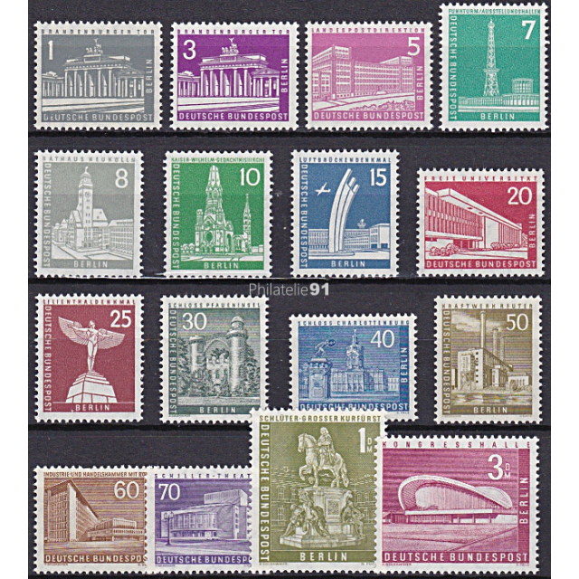 BERLIN - n°  125 à 135A ** - Monuments (III) (190109-1)