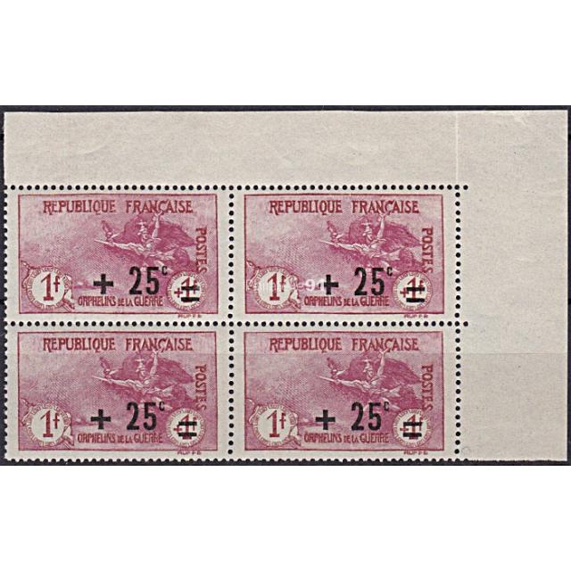 Timbre n° 168 ** (Bloc de 4 avec Coin de feuille) - Orphelins de la guerre - vendu avec certificat (190111-14)