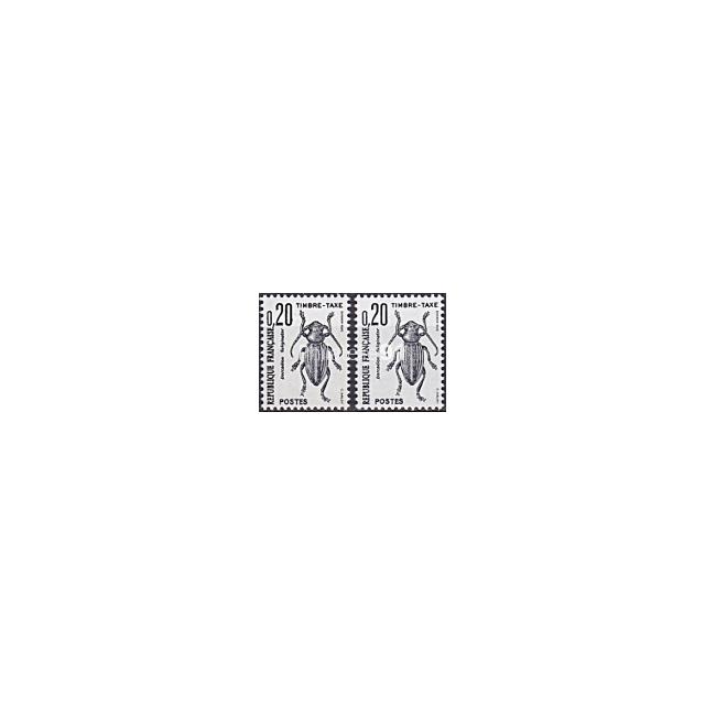 Timbre-Taxe n°  104a ** - Insectes - Coléoptère - Variété Double frappe (190207-8)