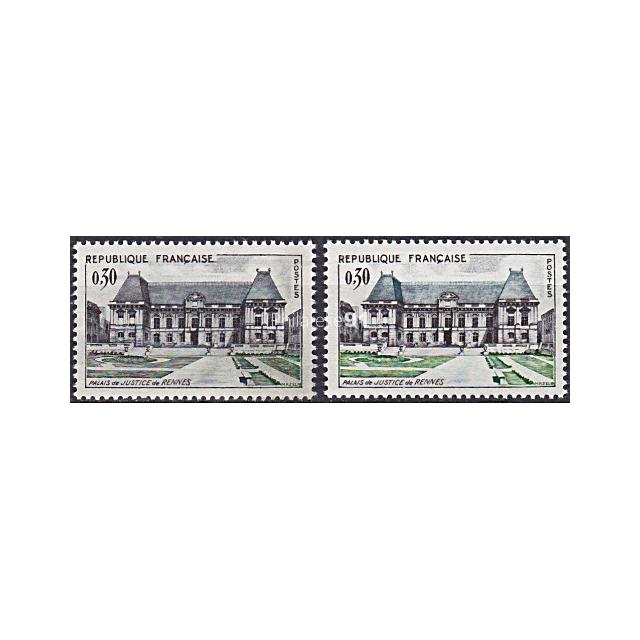 n° 1351 ** - Palais de justice de Rennes - Variété Toit et pelouse gris (190207-12)