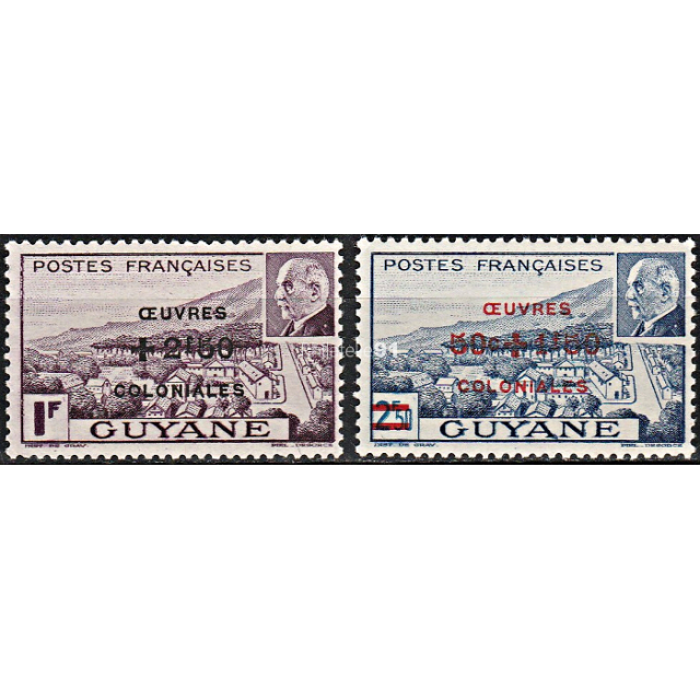 GUYANE - n°  177 à 178** - Maréchal Pétain - surchargés
