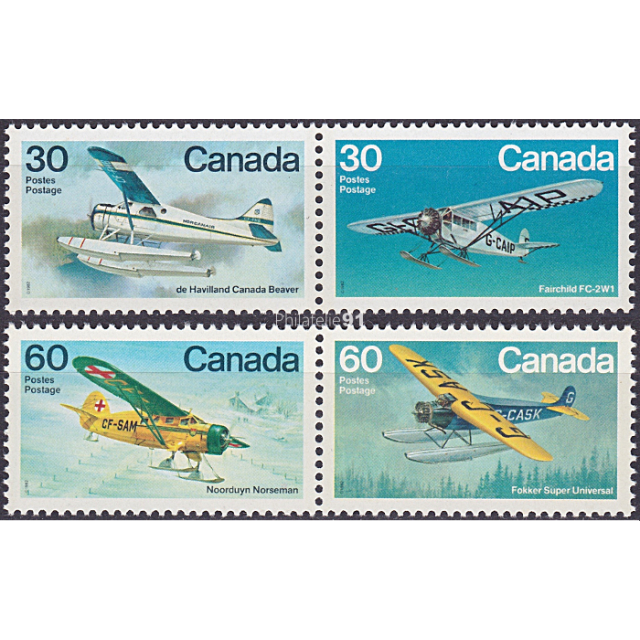 CANADA -  n°  814 à 817 ** - Aviation canadienne (IV) - Avions de brousse