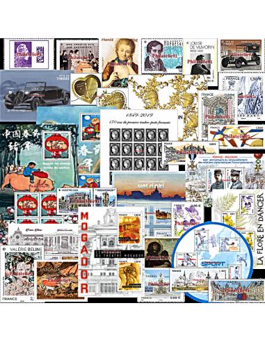 Totalité  des timbres gommés et feuilles pour vos jeux du 1er semestre 2019 - Yvert&Tellier