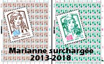 Feuilles Marianne surchargées 2013-2018