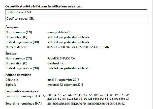 Certificat de Sécurité Philatélie91